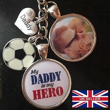 Personalised Photo Keyring My Daddy Hero - Football - Fathers Day Present Gift