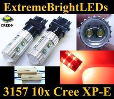 TWO RED 50W 3156 3157 10x Cree XP-E Turn Signal Lights + 2 Load Resistors