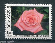 MONACO 1981, timbre 1297, FLEURS, ROSE CATHERINE DENEUVE, neuf**
