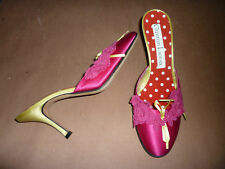 "New: CHRISTIAN LACROIX Bright Pink Satin 3"" Mules, 37.5"