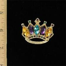 Red Hat Society Dark Multi-Colored Crown Pin in Gold