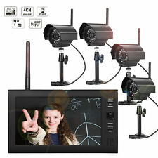 2.4GHz Wireless 4CH Outdoor Indoor Security CCTV Camera System DVR Night Vision