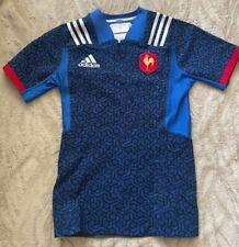 Ffr France adidas Géométrique Numéro Joueur Maillot Rugby GPS Fente Bleu 8 Neuf
