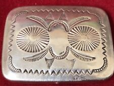 Vintage Navajo Sterling Silver Traditional Hand Stamped Pill/ Snuff Box 21.02g