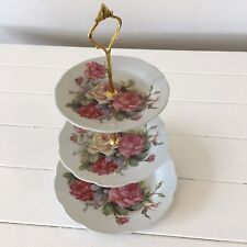 3 TIER VINTAGE FLORAL CERAMIC CAKE STAND CUPCAKE WEDDING PLATE FLORAL