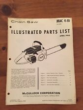 McCulloch Chainsaw Manual Model 4-10 , 1966