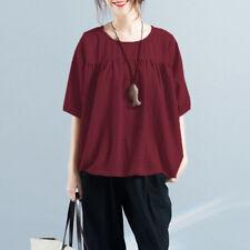 Plus Size Womens Cotton Linen Half Sleeve Loose Tops Blouse Summer Retro T Shirt