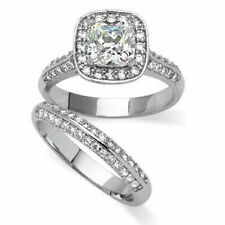 14K Gold Over 925 Sterling Silver Simulated Diamond Bridal Set Halo Band Ring