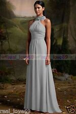 New Chiffon Long Wedding  Formal Party Ball Gown Prom Bridesmaid Dress Size 6-24