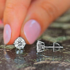 1 Carat VVS1  Round Diamond 14K White Gold Women Stud Earrings