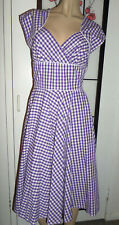 Hell Bunny vixen size S  retro purple Gingham  swing vintage style dress