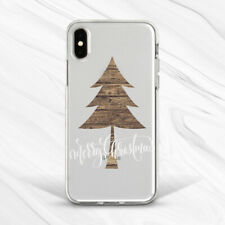 Merry Wood Christmas Tree Brown Case For iPhone 6 7 8 Xs XR 11 Pro Plus Max