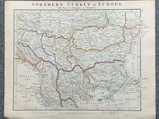 1841 TURKEY IN EUROPE BALKANS HAND COLOURED ANTIQUE MAP BY AARON ARROWSMITH