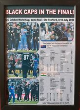 More details for new zealand beat india - 2019 icc cricket world cup semi-final - framed print