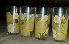 Vintage 60s/70s retro Drinking Glasses •White Flowers and Lemons   Set of 4