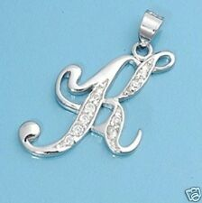 K Letter Alphabet Initial CZ Pendant Sterling Silver 925 Best Price Jewelry Gift