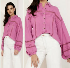 Free People Women's Summer Stars Button Down Shirt Purple Size Small New