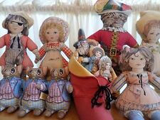Vintage 80s & 90s Toy Works LOT of 7 NURSERY RHYME MOTHER GOOSE CLOTH DOLLS