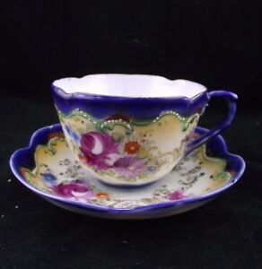 ROYAL NIPPON ? APPLIED GOLD HAND PAINTED ENAMEL TEA CUP SAUCER AS IS