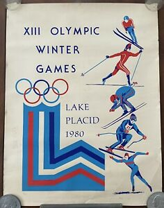 XIII Olympic Winter Games Lake Placid 1980 Ltd Edition Signed Lithograph (20x26)