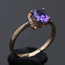 Natural tanzanite solid 14k yellow gold 1.63 ct Fine Jewelry Oval Cut Rings 10#