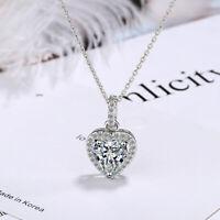 925 Sterling Silver Crystal Zircon Heart Pendant Necklace Women Fashion Jewelry