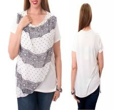T46 New White Plus Size 14/16 Ladies Short Sleeves Work Office Club Blouse Tops