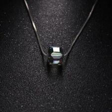 Aleación Cadena Plata Piedra Cuadrada Collar Colgante Aurora Cristal