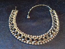 Vtg Clear Prong Set Rhinestone/Loose Link Gold Tone Chain Adj Choker Necklace