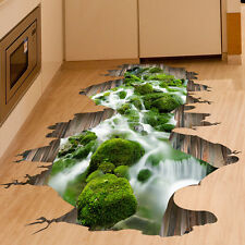 3D Bridge Stream Floor Wall Sticker Removable Mural Decals Vinyl Art Room Decors