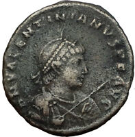VALENTINIAN II on GALLEY w Cross 378AD Antioch Genuine Ancient Roman Coin i65530