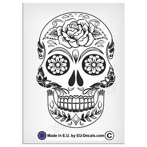 "120mm-4.7"" Sugar Skull Black/White Laminated Decal Sticker vespa iPad Laptop vw"