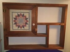 "Vintage 18"" X 24"" Wood MINIATURES Display Shelf Kitchen Rack w Needlepoint Art"