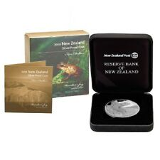 New Zealand 2008 Endangered Frog, 1 Oz Silver Proof $5 Dollars Coin