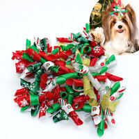 10/100pcs Christmas Pet Dog Hair Bows Rubber Bands Holiday Grooming Accessories