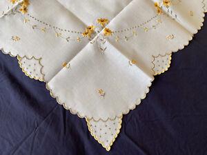 Very Pretty Vintage Floral Embroidered Cream Irish Linen Small Square Tablecloth