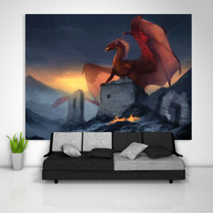 Red Dragon Tapestry Art Wall Hanging Sofa Table Bed Cover Poster
