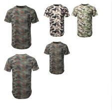FashionOutfit Men's Casual Crew Neck Camouflage Scallop Hem Tee - Made In USA