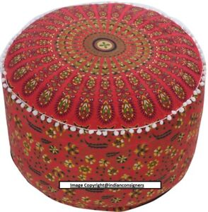 Pouf Beautiful Indian Mandala Peacock Design Coton Fabric Ottoman Cover Ethnic