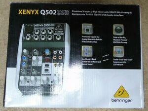 Behringer Xenyx Q502USB Premium 5 Input 2 Bus Mixer Mic Preamp/Compressor