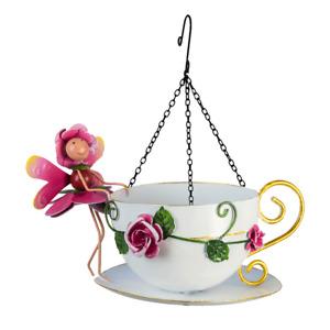 New Rose Fairy -  Hanging Cup Metal Bird Feeder - Fairy Garden bird feeder