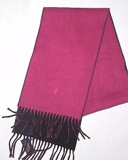 POLO Ralph Lauren womens winter reversible Wool Scarf  Black & Fuchsia w/ pony