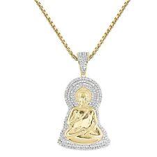 "Custom Buddha Pendant Simulated Diamond 14k Gold Finish 24"" Chain Hip Hop Charm"