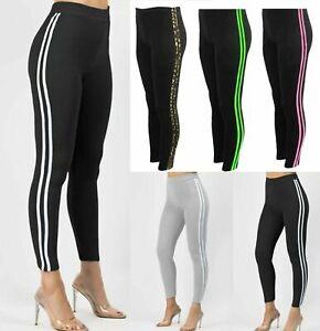 Womens 2 Stripe Leggings Ladies High Waist Yoga Fitness Gym Running Skinny Pants