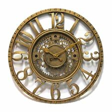 Infinity Instruments 12832AG Gear Resin Wall Clock, Antique Gold
