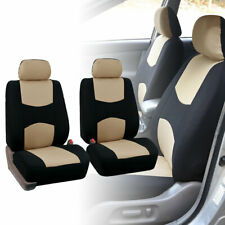 2 Front Car Seat Covers Beige Black Full Set for Auto w/Head Rest