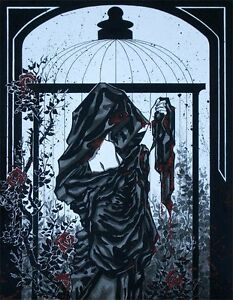 Gothic robed woman with red roses comic fantasy art canvas print