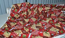 "Texas BBQ Novelty Print Red 44"" Wide 100% Cotton Fabric by the Yard"