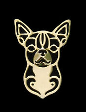 Chihuahua Brooch or Pin -Fashion Jewellery Gold Plated, Stud Back