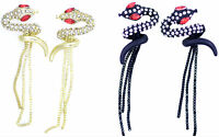 Punk goth style coiled crystal snake with tassel earrings, multiple choices